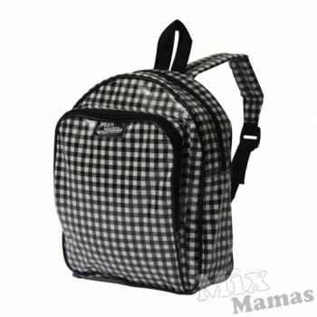 Zwarte rugzak met witte ruiten van Mix Mamas #rugzak #schooltas #MixMamas #Decodomus