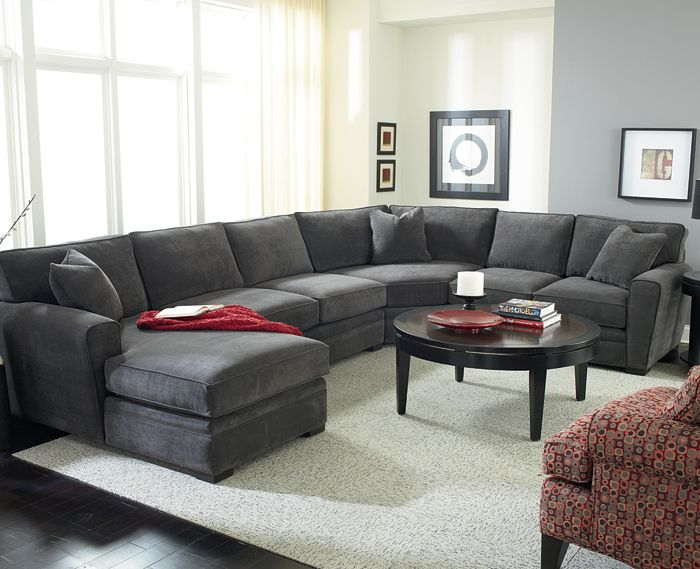 """Artemis"" sectional by Jonathan Louis. Choose your preferred style for cushion shape, arms and base – 18 variations available!"