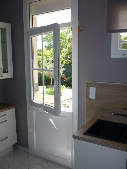 porte fermiere blanc avec imposte fixe vitre partie With porte d entrée alu avec salle de bain panneau hydrofuge
