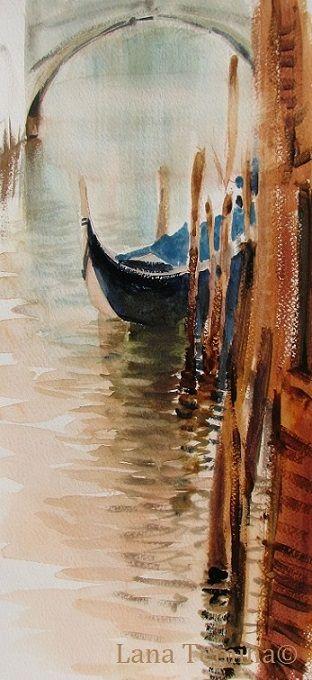 Landscape with gondola. Venice.   #venice #watercolor #painting #art #картины #венеция #акварель #пейзаж #живопись #художник