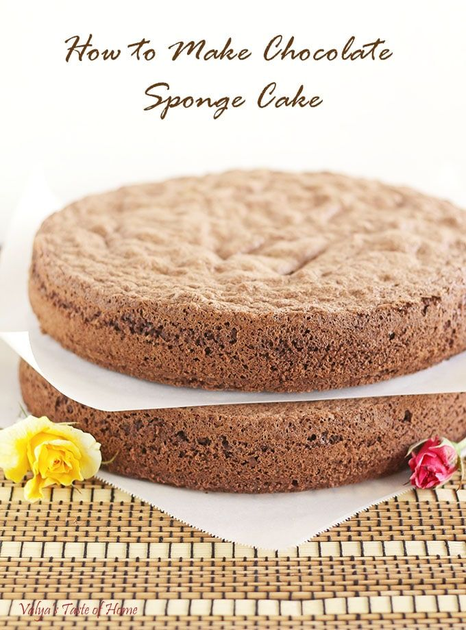 Chocolate Sponge Cake is also known as Chocolate biskvit. It is very similar to traditional white biskvit except you add cocoa powder and less flour to make