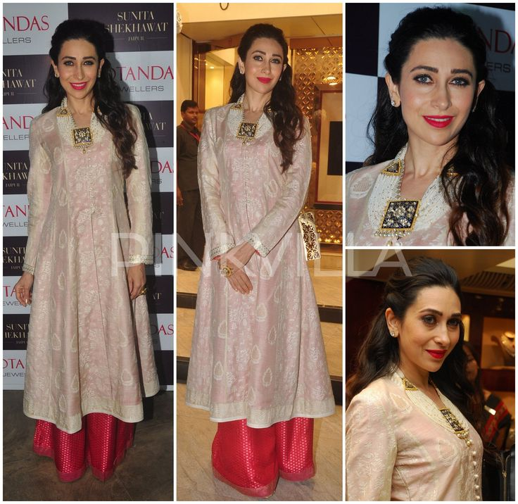 Karisma Kapoor in Pallavi Puri Karisma Kapoor attended Notandas' new store launch event in Mumbai looking beautiful in a Pallavi Puri look. Her look included a white embroidered kurta with a pink sharara pants. She styled her look with some stunning jewellery from Notandas with a pink mouth and soft curls finishing the look out.