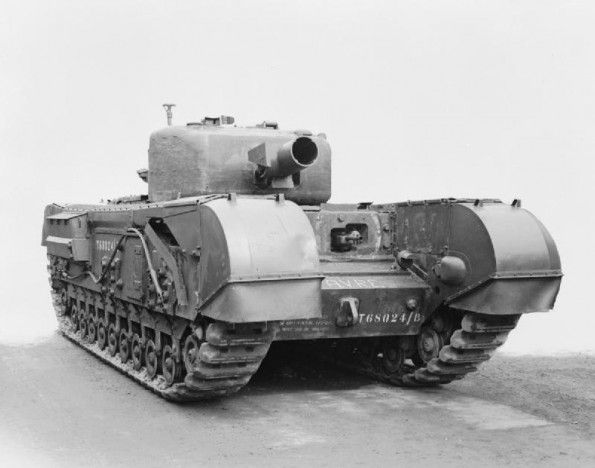 Churchill AVRE (Armoured Vehicle Royal Engineers) armed with a 290mm spigot mortar which fired a 40lb (18kg) charge up to 80 yards (72m). Its purpose was to destroy concrete.