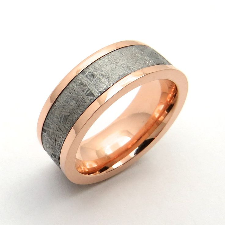 Rose Gold Meteorite Ring Has A Naturally Occurring Pattern Like