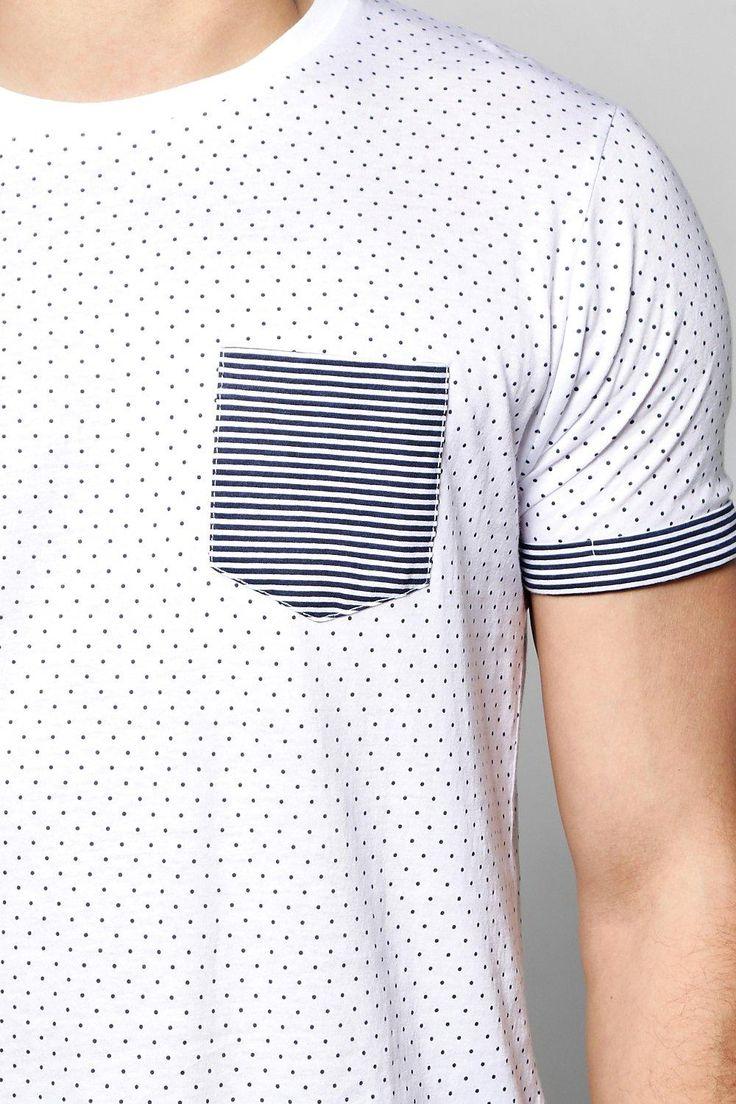 Camiseta Con Estampado De Lunares Y Mangas Vueltas A Rayas