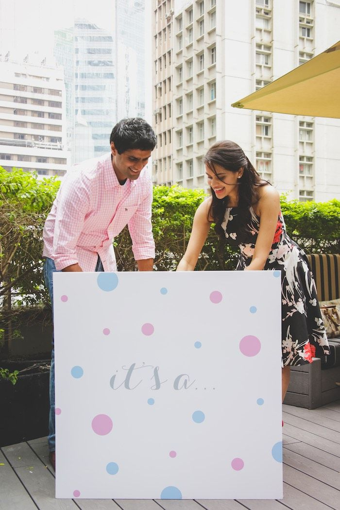 Gender Reveal Box from an Urban Gender Reveal Party on Kara's Party Ideas | KarasPartyIdeas.com (4)