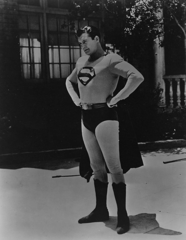 Superman first graced the small screen in the television show Adventures of Superman that ran from 1951-1958, starring George Reeves. The first incarnation of Reeves' costume was created in white, grey, and brown to read properly when filmed in black & white. Tyranny of Style.