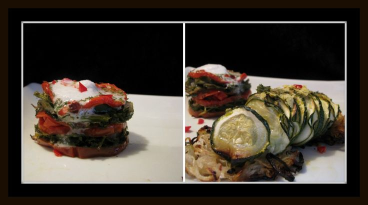 Zucchini hasselbacks and baked tomato with sliced zucchini and mixed greens. Gorgeous!