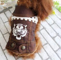 2016 Diseño Sin Mangas Chaqueta de Perro Personalizado Tigre Patrón Cachorro Gato Espesar Chaleco de Invierno de Ropa para Perros Chihuahua Caniche