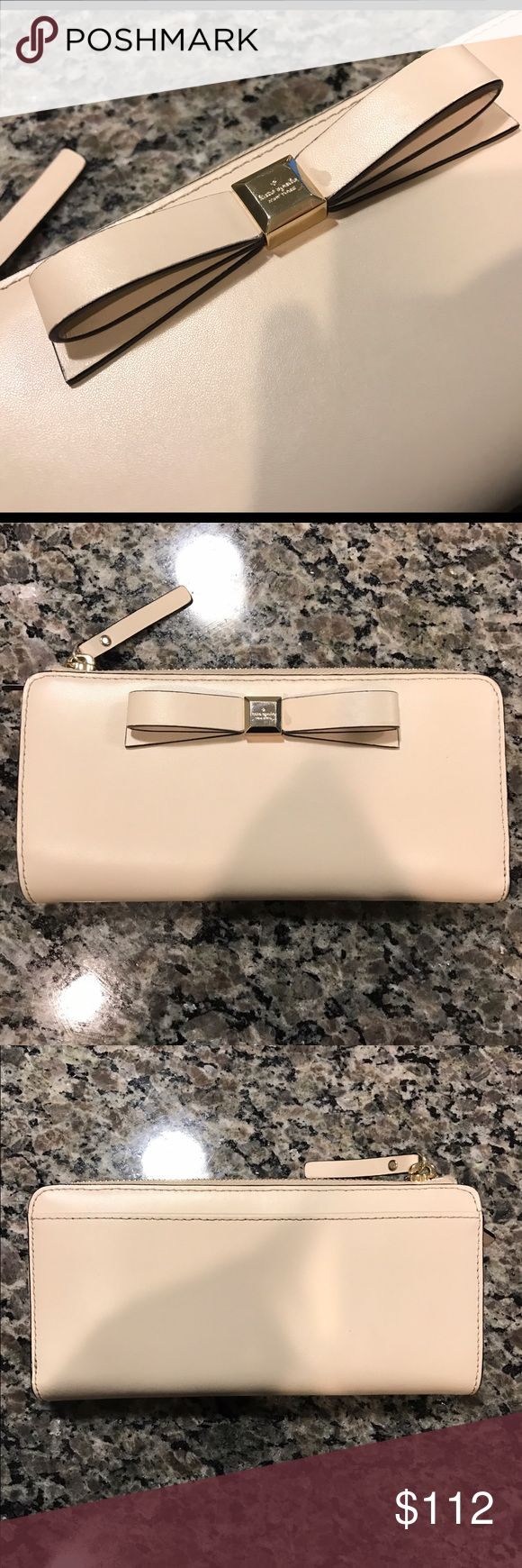 🎀 Kate Spade Beige Clutch Nisha WLRU2133 Montford Park Smooth Perf Beige Wallet, Super Cute & Neutral enough to go with any outfit, Classy & in Great Condition 💖 kate spade Bags Wallets