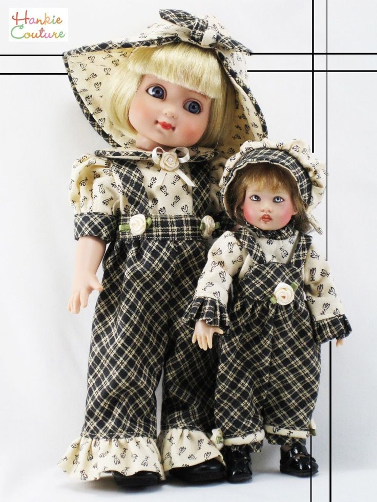 Doll friends!!!  7.5-inch Riley Kish is shown here with 10-inch Ann Estelle by Tonner.  Outfits made from new, 100% cotton fabric of plaid and floral print.  By Hankie Couture, on eBay now (Just click the photo)! ♡ #HankieCouture #doll #Riley #Kish #handmade #romper #plaid #floral ♡ January 2015