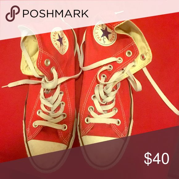 Red converse Wore these shoes only twice ! Will clean off before shipping Converse Shoes