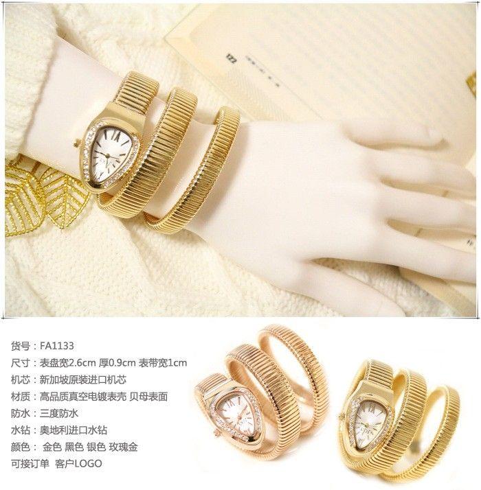 2016 New Arrival,high quality,Austraila Diamond Luxury Watch,snake shape band, Dress Bracelet Watch,women's quartz waches