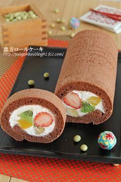 「恵方巻きに!フルーツロールケーキ」ぱお   お菓子・パンのレシピや作り方【corecle*コレクル】