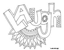 DOODLE ART ALLEY: WORDS colouring pages, FREE.