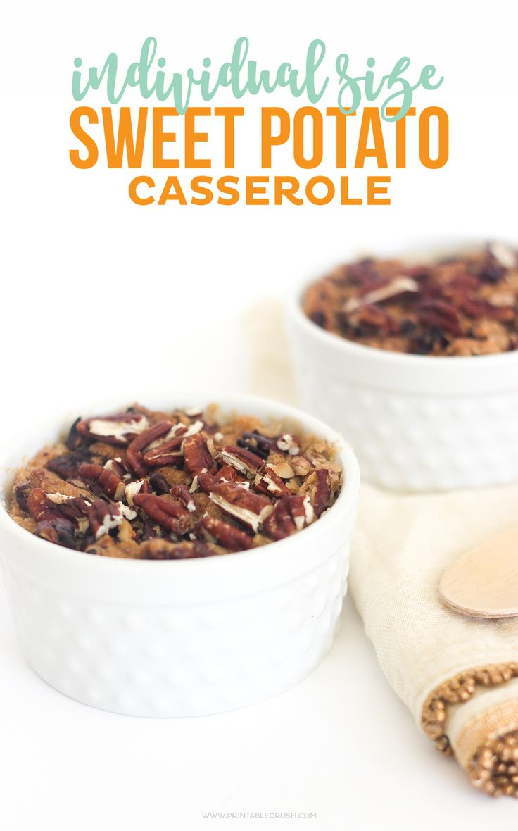 Sweet Potato Casserole is one of the BEST Thanksgiving Side Dishes! It's even better in Individual sizes, so you won't have to share!