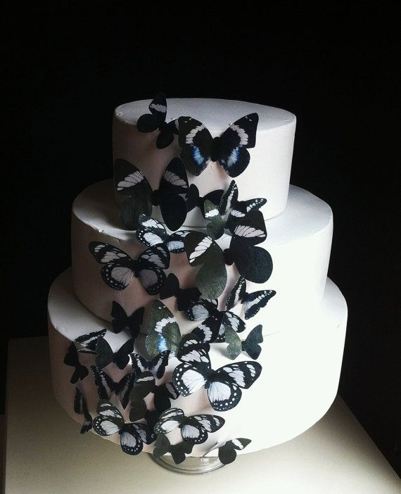 Edible Butterflies for Cupcakes - Edible Butterfly Birthday Cake Decoration - Assorted Black set of 30