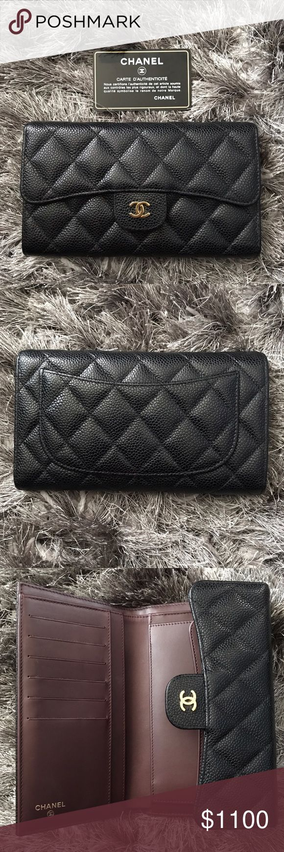 ✨ CHANEL Flap Wallet in Caviar with GHW ✨AUTHENTIC✨  PRE LOVED CHANEL FLAP QUILTED WALLET  It has signs of wear. Credit Card Slots are a bit stretched. On Coin Pouch part there's a bit of  indentation. Please See Pictures.  Made in Spain   COMES WITH AUTHENTICITY CARD, BOX, DUST BAG AND RIBBON  **FIRM on Price 🚫 NO Low offers please CHANEL Bags Wallets