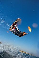 Kitesurfing in Costa d'Argento, Maremma, Tuscany, Italy