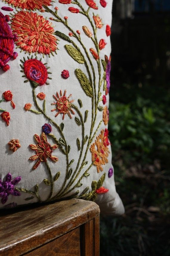 SPRING RITE -  Hand  Embroidered Pillowcase. via Etsy.