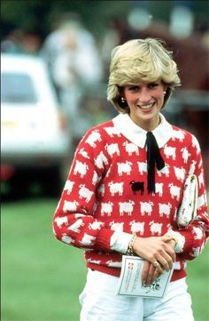 Princess Diana's Famous Baa Baa Black Sheep Sweater..https://princessdianabookboutique.wordpress.com/2017/09/27/princess-dianas-famous-baa-baa-black-sheep-sweater-our-news-article-today-is-from-october-1983-%F0%9F%90%91%F0%9F%90%8F/