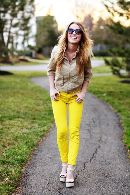 Make a statement with loud and bright pants! Shoes: c/o Frock Candy, Pants: c/o Windsor, Jacket: Old Navy, Sunglasses: Target