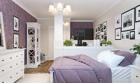 Kis lakás provence-i stílusban külön hálószoba nélkül kényelmes konyhával