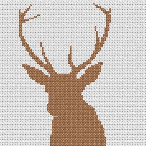 Counted Cross Stitch | Deer Head Silhouette Counted Cross Stitch Pattern ...