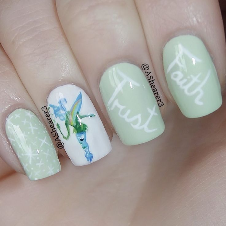 Disney Nail Art Inspired by Tinker Bell