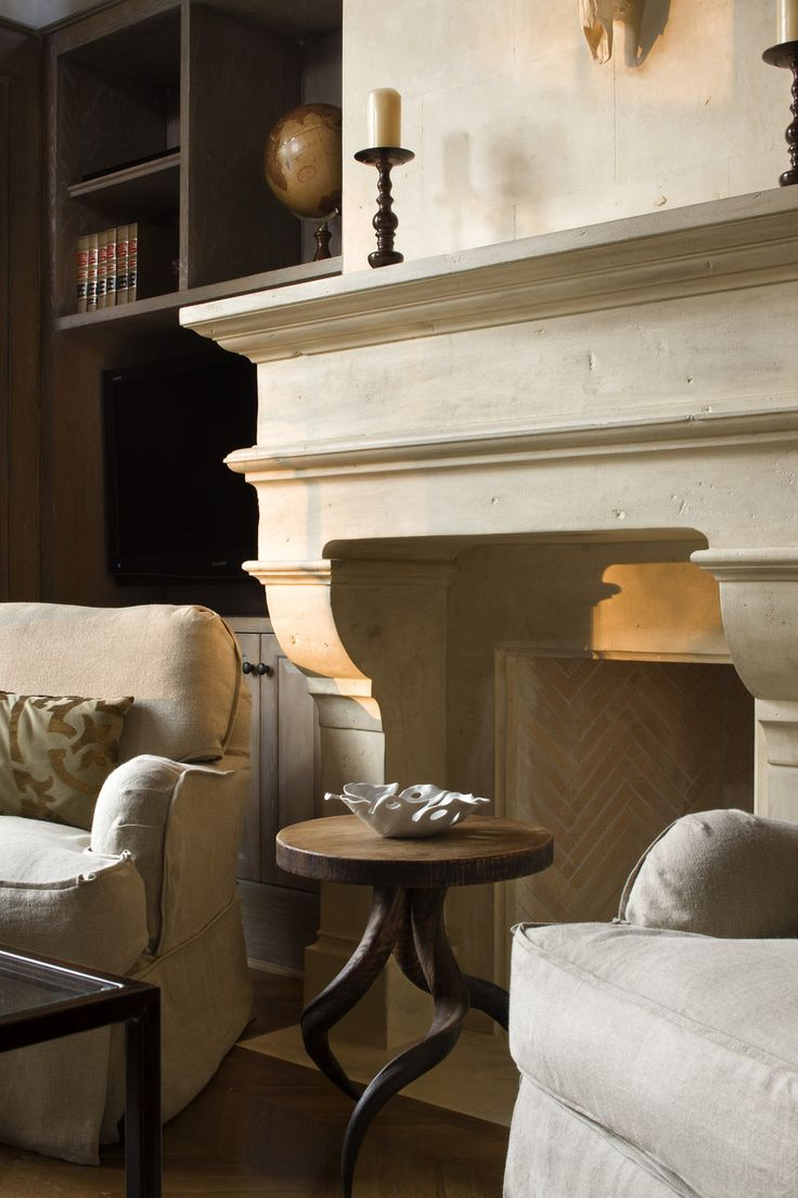 Limestone Rumford fireplace. Foothill Terrace | Ryan Street & Associates