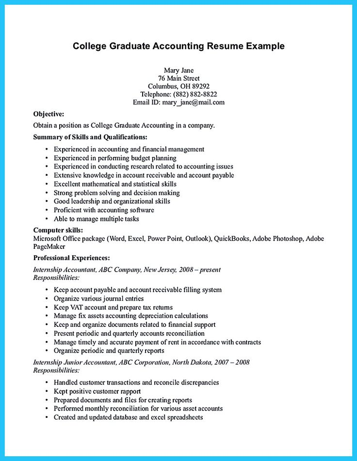 Awesome Accounting Student Resume with No Experience (With