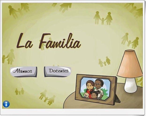"""""""La familia"""" es una aplicación de Educarex en la que el alumno interactúa, tras la exposición sobre la familia, sus miembros, relaciones y actividades, en juegos en los que se afianza el conocimiento del tema."""