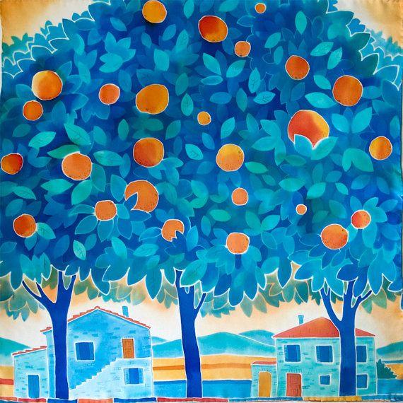 Vivid sunny orange and fresh turquoise silk shawl. Brilliantly colours orange…