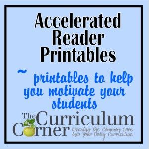 Accelerated Reader Printables for goal settings, preparing for quizzes and sharing results with parents.  Includes a story map for nonfiction and fiction books.  All FREE from www.thecurriculumcorner.com