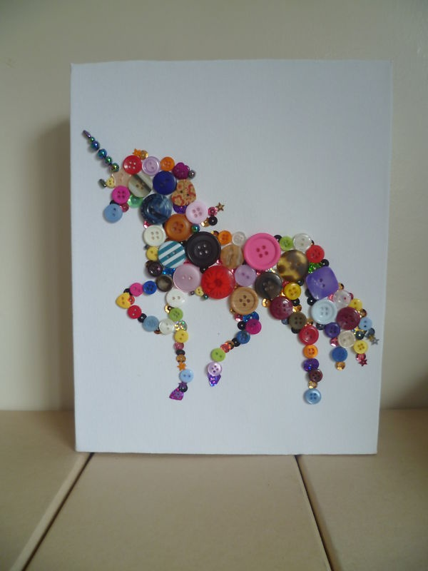 unicorn canvas button picture