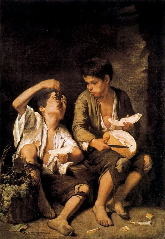 Children eating melon and grapes, 1650-55 // Bartolome Esteban Murillo (spanish baroque painter, 1618-1682)