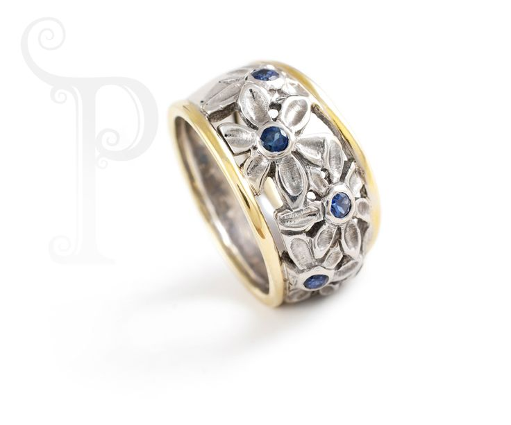 Handmade Argentium Silver & 18ct yellow Gold Cut Out Daisy Ring, Set With Sapphires