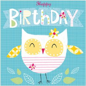 S298 Happy Birthday Owl.  www.gailscards.com.au