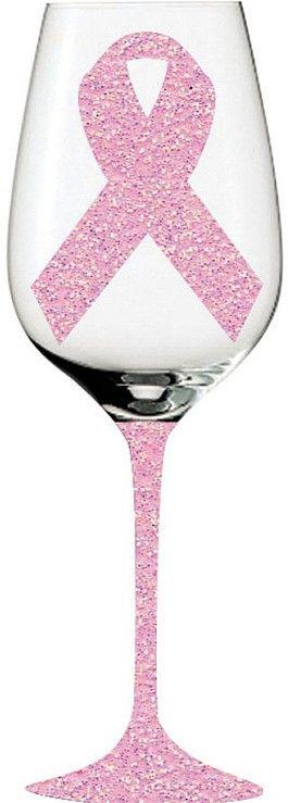 Pink Ribbon Glittery Wine Glass