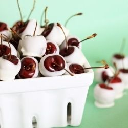 Cherries soaked overnight in Amaretto, then dipped in white chocolate. Heaven.
