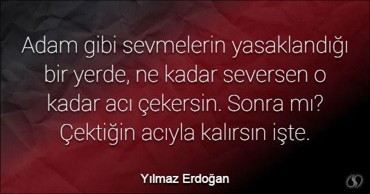 Özlü Sözler   Yılmaz Erdoğan Sözleri   Adam gibi sevmelerin yasaklandığı bir…