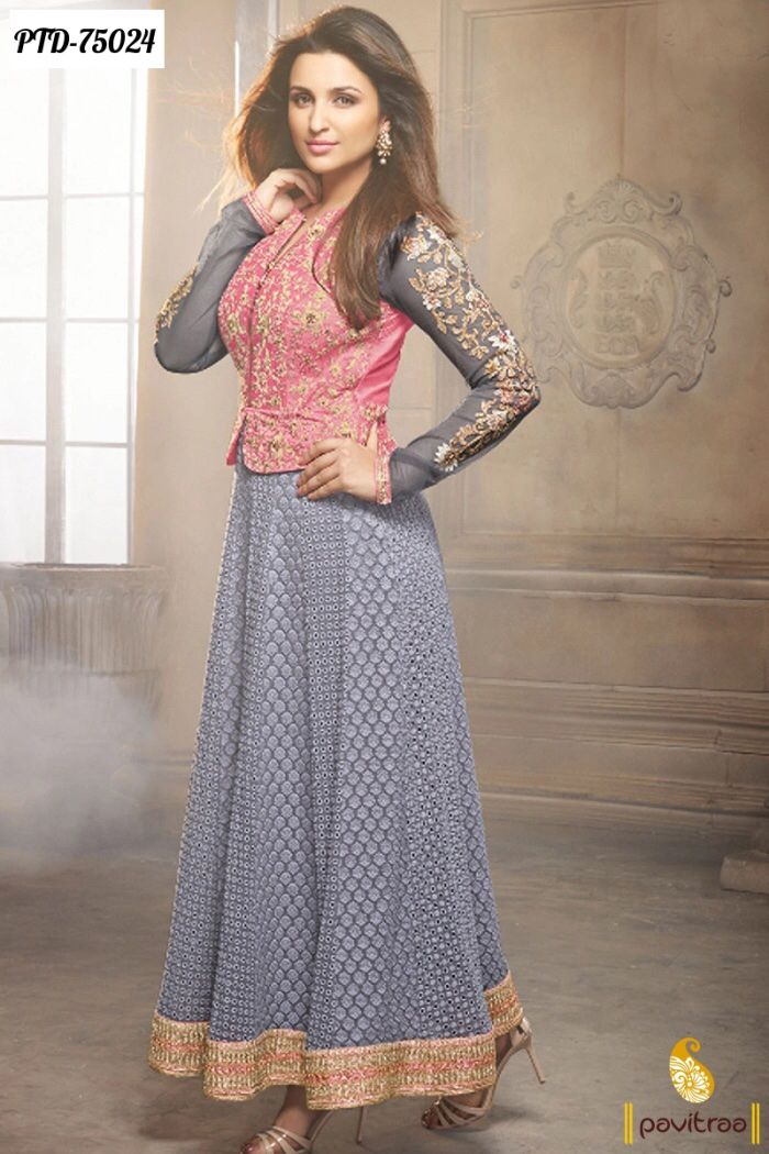 Parineeti Chopra pink and grey anarkali dress