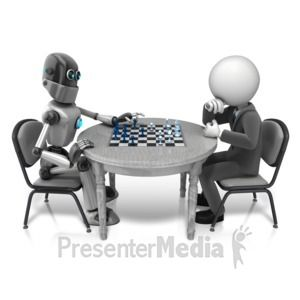 ID# 11446 - Retro Robot Playing Chess - Presentation Clipart