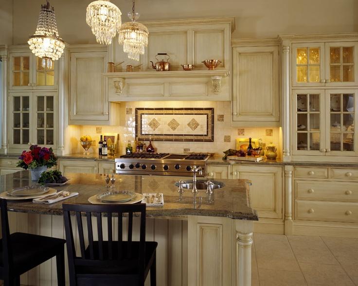 Kitchen, Cream Cabinets, Granite Counters