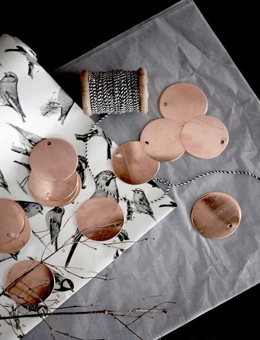 black, white and copper tags
