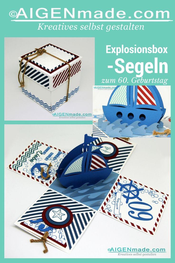 Zum 60. Geburtstag eine Box aus Papier gebastelt und gestempelt zum Thema Segeln, Boot, Meer - für Geldgeschenk! #Aigenmade #stempeln #stampinup #DIY #papterie