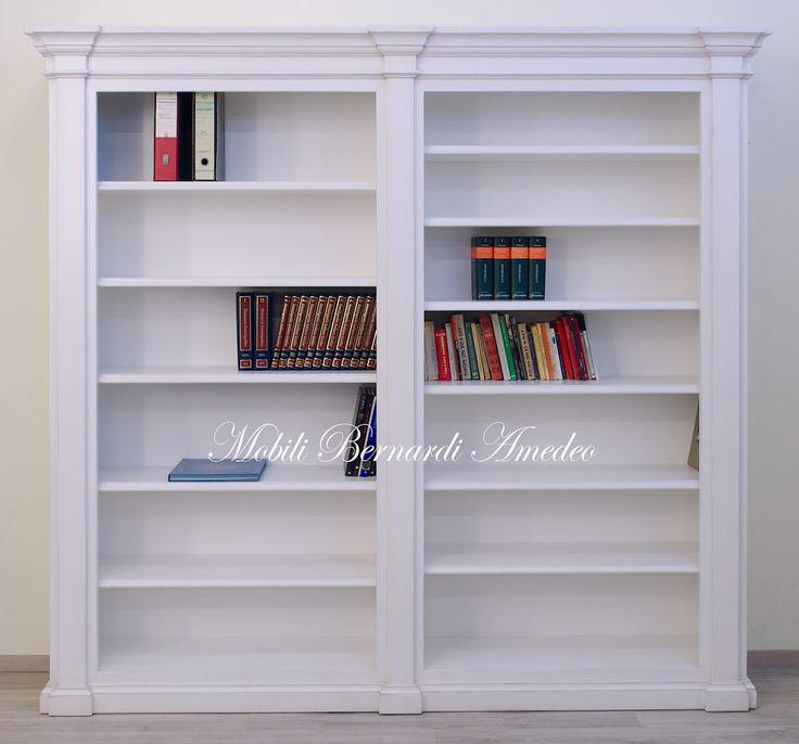 Libreria a giorno legno massello finitura bianco anticato stile classico