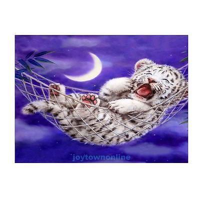 White Tiger 5D Diamond DIY Painting Embroidery Craft Cross Stitch Home Decor