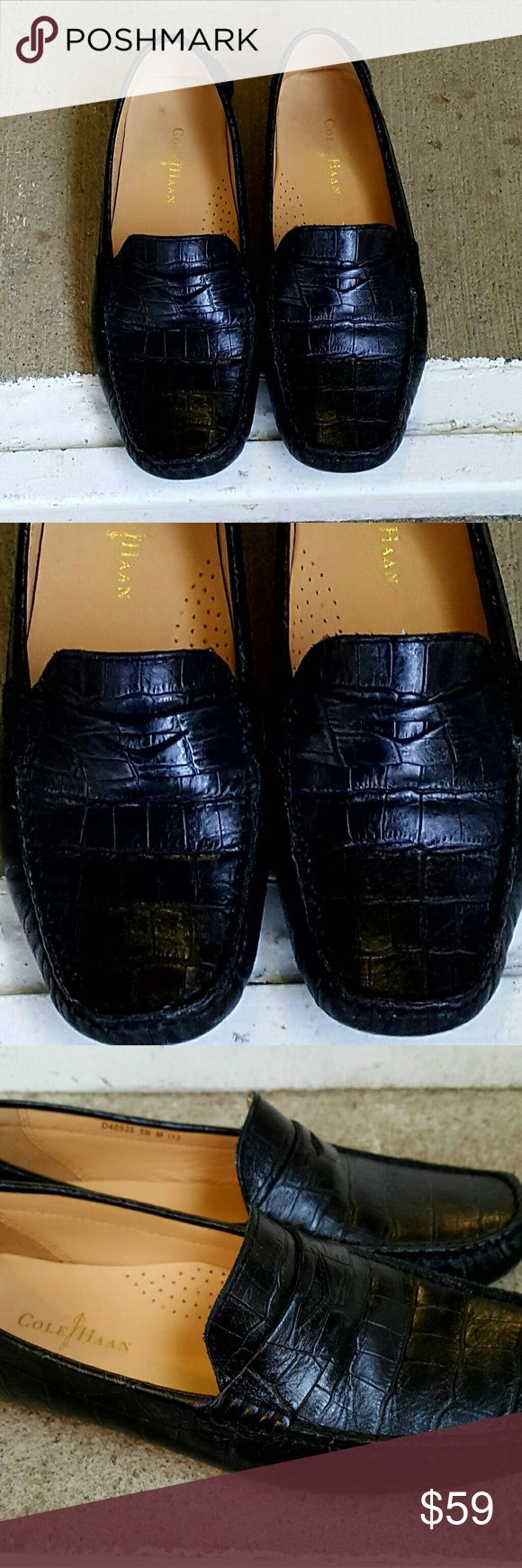 Cole Haan Women's Black Trilby Croc-Print Driver Cole Haan Women's Black Trilby Croc-Print Driver Size 5M  Theae shoes are so beautiful ?????? They are gently worn. Only signs of wear is under the toe box (pics above) Cole Haan Shoes Flats & Loafers