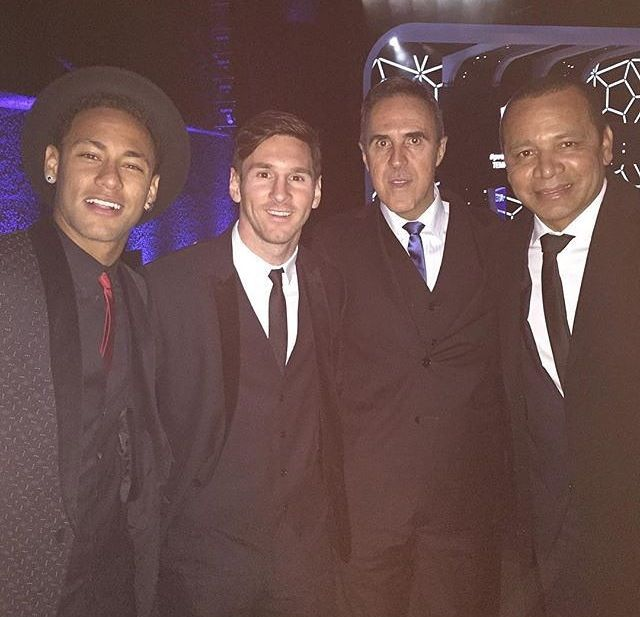 Neymar ,Messi and their Dads